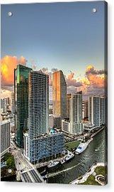 Miami Bayside Acrylic Print by Nick  Shirghio
