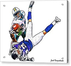Miami Dolphins Vontae Davis And Minnesota Vikings Percy Harvin  Acrylic Print by Jack K
