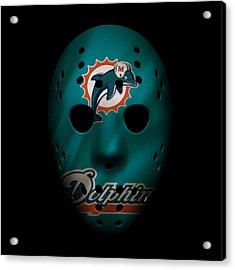 Miami Dolphins War Mask 2 Acrylic Print by Joe Hamilton