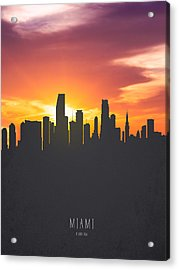Miami Florida Sunset Skyline 01 Acrylic Print by Aged Pixel