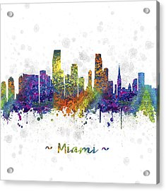Miami Florida Skyline Color 03sq Acrylic Print by Aged Pixel