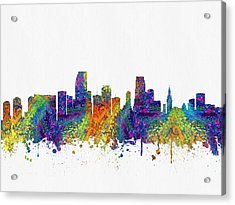 Miami Florida Skyline Color03 Acrylic Print by Aged Pixel