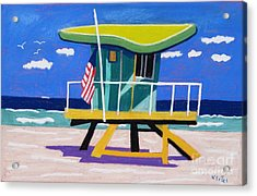 Miami Lime Green Hut Acrylic Print by Lesley Giles