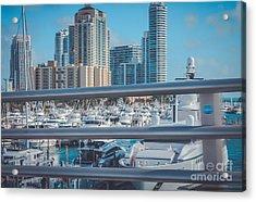 Miami Marina Acrylic Print by Claudia M Photography