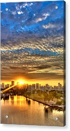 Miami River Sunrise Acrylic Print by William Wetmore