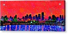 Miami Skyline 10 - Pa Acrylic Print by Leonardo Digenio