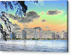 Miami Skyline Abstract Acrylic Print
