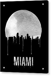 Miami Skyline Black Acrylic Print by Naxart Studio