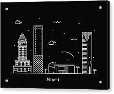 Miami Skyline Travel Poster Acrylic Print