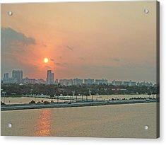 Miami Sunrise Acrylic Print by Gary Wonning