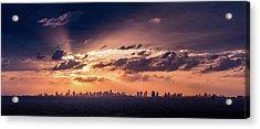 Miami Sunset Pano Acrylic Print