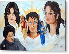 Michael Jackson-faces Acrylic Print by Janna Columbus