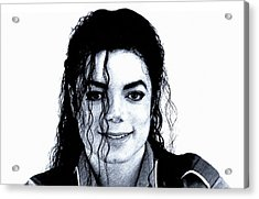 Acrylic Print featuring the drawing Michael Jackson Pencil Drawing  by Movie Poster Prints