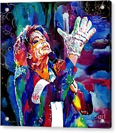Michael Jackson Sings Acrylic Print by David Lloyd Glover