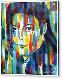 Michael Jackson  The Man In Color Acrylic Print by Habib Ayat