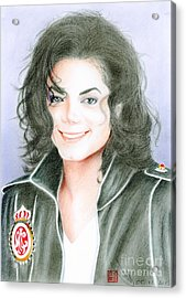 Acrylic Print featuring the drawing Michael Jackson #twelve by Eliza Lo