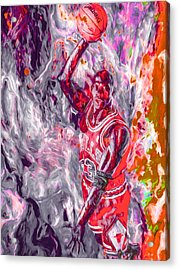 Michael Jordan Chicago Bulls Digital Painting Acrylic Print by David Haskett