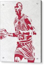Michael Jordan Chicago Bulls Pixel Art 2 Acrylic Print by Joe Hamilton