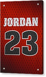 Michael Jordan Chicago Bulls Retro Vintage Jersey Closeup Graphic Design Acrylic Print by Design Turnpike