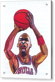 Acrylic Print featuring the painting Michael Jordan by Emmanuel Baliyanga