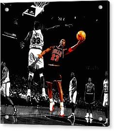 Michael Jordan Left Hand Acrylic Print by Brian Reaves