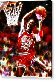 Michael Jordan Magical Dunk Acrylic Print by Paul Van Scott