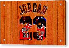 Michael Jordan Wood Art 1b Acrylic Print by Brian Reaves