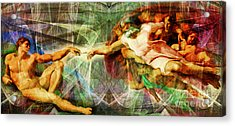 Michelangelo The Creation Of Adam In Abstract Space 20150622 Acrylic Print
