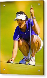 Michelle Wie Lines Up Her Putt  Acrylic Print