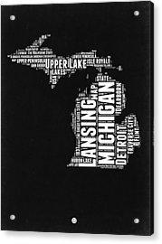 Michigan Black And White Word Cloud Map Acrylic Print by Naxart Studio
