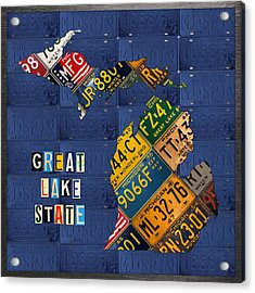 Michigan License Plate Map Great Lake State With Vintage Blue Plate Background Edition Acrylic Print by Design Turnpike
