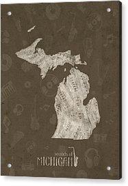 Michigan Map Music Notes 3 Acrylic Print
