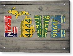 Michigan State Love Heart License Plates Art Phrase Acrylic Print