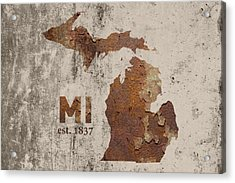 Michigan State Map Industrial Rusted Metal On Cement Wall With Founding Date Series 005 Acrylic Print by Design Turnpike