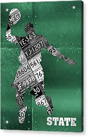 Michigan State Spartans Basketball Player Recycled Michigan License Plate Art Acrylic Print