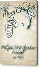 Michigan State Spartans Christmas Card 2 Acrylic Print