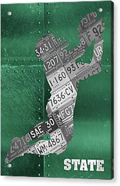 Michigan State Spartans Receiver Recycled Michigan License Plate Art Acrylic Print