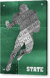 Michigan State Spartans Running Back Recycled Michigan License Plate Art Acrylic Print