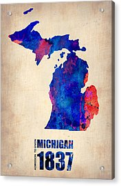 Michigan Watercolor Map Acrylic Print by Naxart Studio