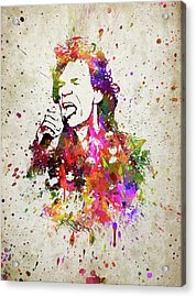 Mick Jagger In Color Acrylic Print by Aged Pixel