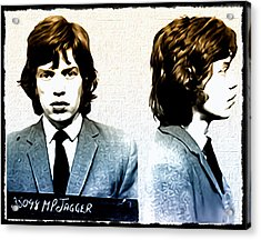 Mick Jagger Mugshot Acrylic Print by Bill Cannon
