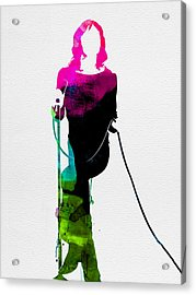 Mick Watercolor Acrylic Print by Naxart Studio