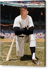 Mickey Mantle Restored Acrylic Print by Garland Johnson