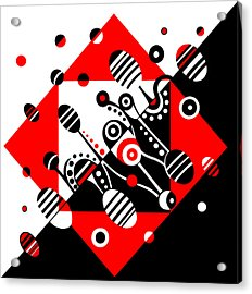 Microgravity - Red And Black Acrylic Print by Deyana Deco