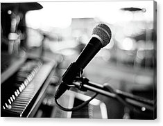 Microphone On Empty Stage Acrylic Print