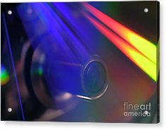 Microscope Lens And Light Beams Acrylic Print by Sami Sarkis