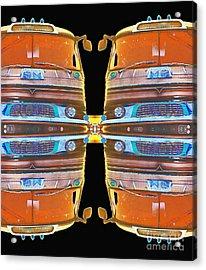 Mid Century Gm Greyhound Bus - Mirrored Abstract Acrylic Print by Scott D Van Osdol