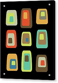 Mid Century Modern Oblongs On Black Acrylic Print