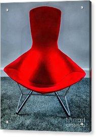 Mid Century Modern Red Chair Acrylic Print by Edward Fielding