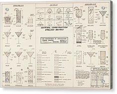 Mid Century Retro Vintage Cocktail Construction Chart Acrylic Print